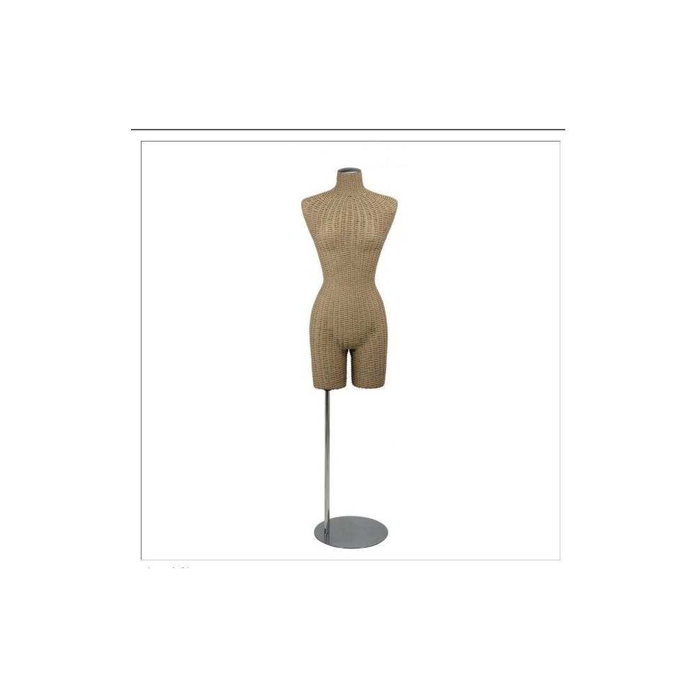 Mannequin buste femme en rotin