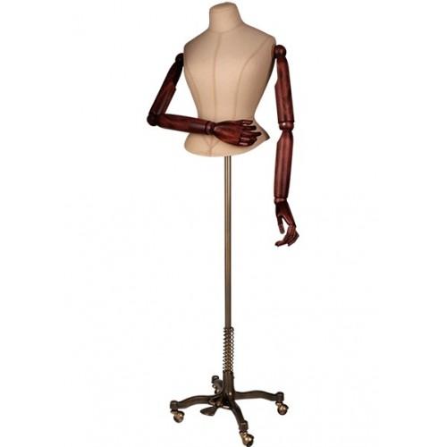 Mannequin buste court femme bras bois