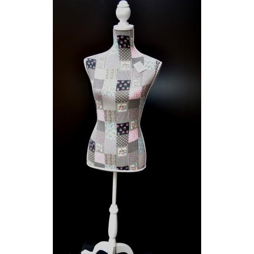 Mannequin buste femme tissu fleurs