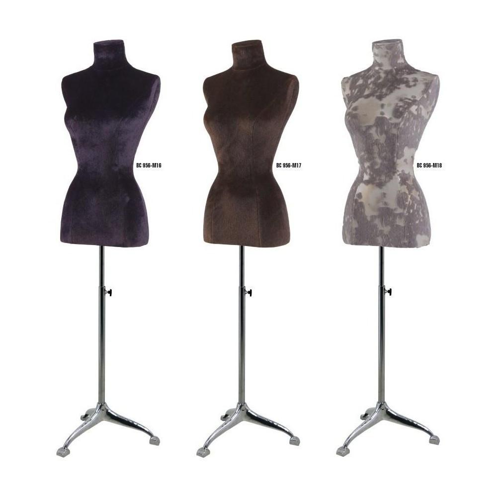 Mannequin buste femme tissu velours