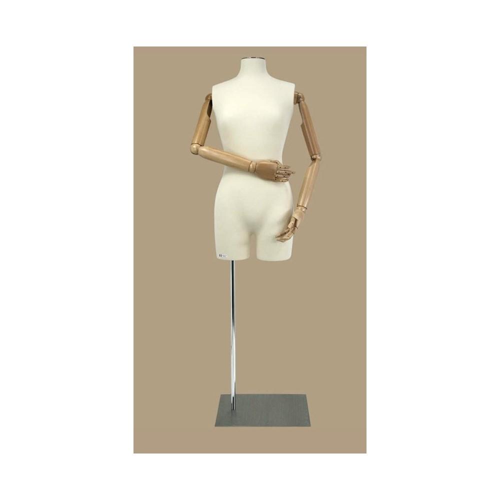 Mannequin buste femme en tissu jersey et bras articulés