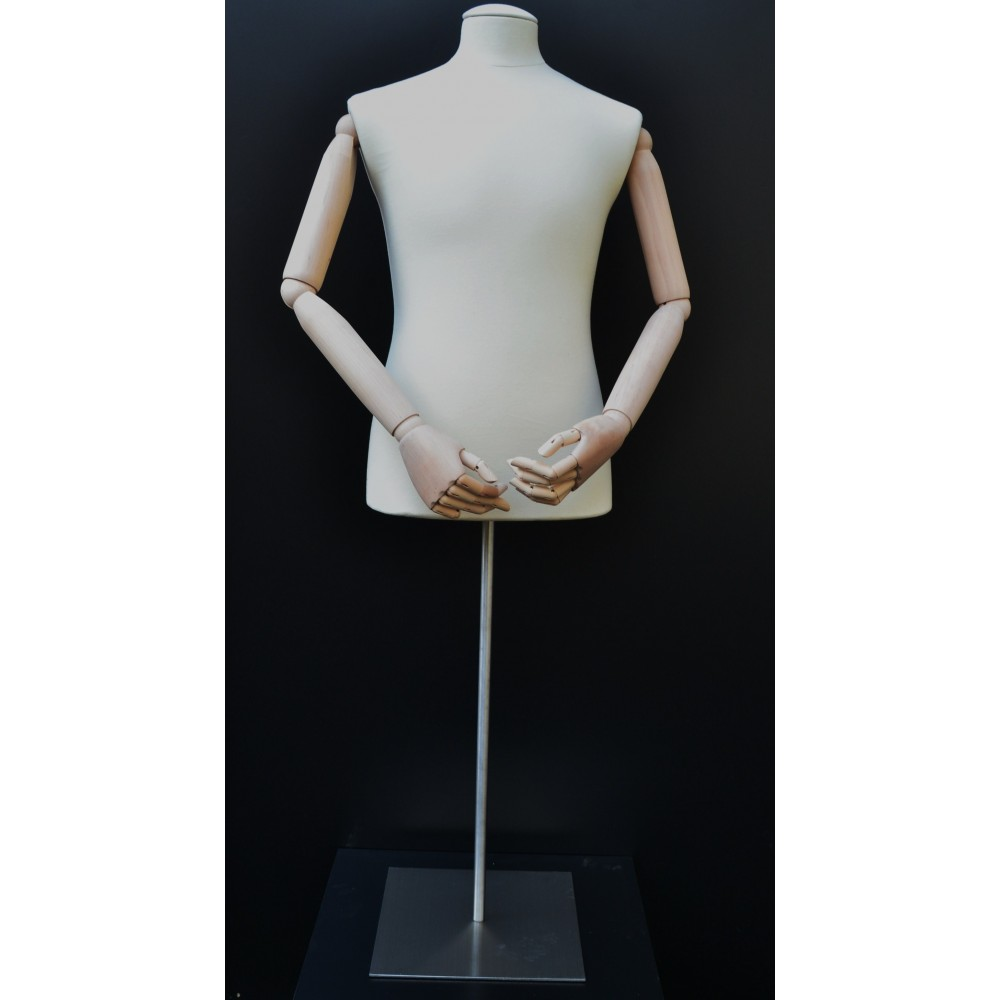 Mannequin buste homme bras bois