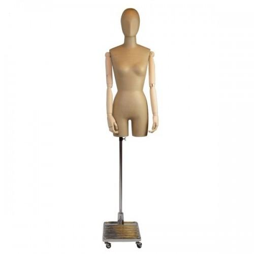 Mannequin femme papier et bois